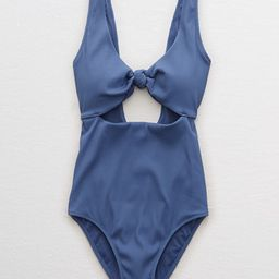 Aerie Ribbed Knot One Piece Swimsuit Women's Somber Navy XL | American Eagle Outfitters (US & CA)