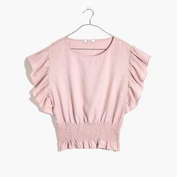 Linen-Blend Flutter-Sleeve Smocked Top   Madewell