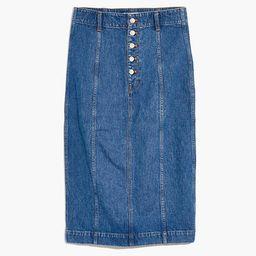 Stretch Denim Button-Front Midi Pencil Skirt   Madewell