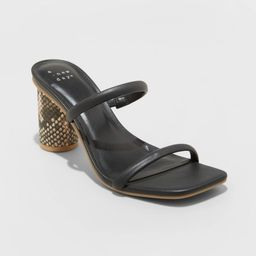 Women's Cass Square Toe Heels - A New Day Black 11   Target