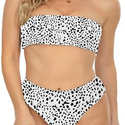 I2CRAZY Womens Bandeau Two Piece Bikini Swimsuits Strapless Top with High Cut Bottom Bathing Suit | Amazon (US)