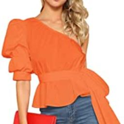 Women's One Shoulder Short Puff Sleeve Self Belted Solid Blouse Top | Amazon (US)