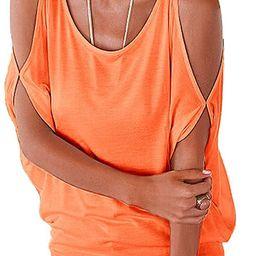 Womens Summer Cold Shoulder Tops Short Sleeve T Shirts Pullover Casual Dolman Blouses | Amazon (US)