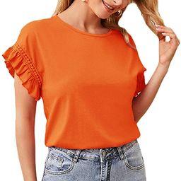 Women's Short Sleeve Ruffle Trim Contrast Lace Summer Blouse Top | Amazon (US)