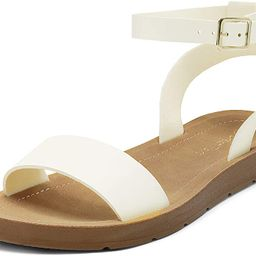 DREAM PAIRS Women's One Band Ankle Strap Buckle Flat Sandals | Amazon (US)