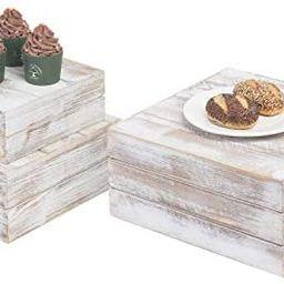 MyGift Shabby Whitewashed Wood Nesting Crate Display Risers, Set of 3 | Amazon (US)