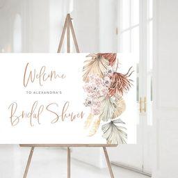 Boho Bridal Welcome Sign Template, Modern Tropical Boho Bridal Shower, Large Horizontal Editable ...   Etsy (US)