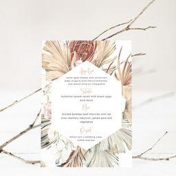 Menu Card Template, Pampas Grass Menu, Boho Menu Card, Editable Menu, Printable Wedding Menu Temp... | Etsy (US)