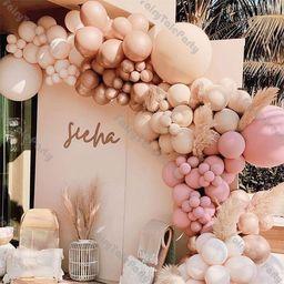 DIY Doubled Cream Peach Apricot Balloons Garland Retro Pink Balloon Rose Gold Globos Birthday Wed... | Etsy (US)
