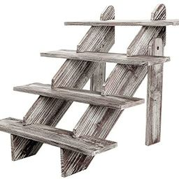 MyGift Cascading 4-Tier Rustic Torched Wood Retail Display Riser, Decorative Merchandise Stand | Amazon (US)