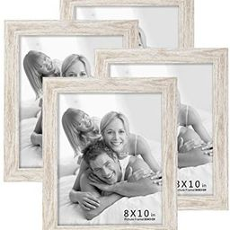 BOICHEN Picture Frames 8x10 (4-Pack) - Rustic White Washed Farmhouse Wooden Frame - Photo Frame w... | Amazon (US)