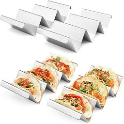 Taco Holders 4 Packs - Stainless Steel Taco Stand Rack Tray Style by Artthome, Oven Safe for Baki... | Amazon (US)
