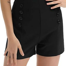 Belle Poque Women High Waist Stretch Shorts Vintage Button Sailor Shorts BP849 | Amazon (US)