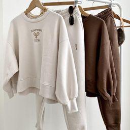 Loungewear Set: Vintage Inspired Hamptons Club Tennis Crewneck Sweatshirt Embroidered Oversized &... | Etsy (US)