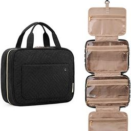 Toiletry Bag Travel Bag with Hanging Hook, Water-resistant Makeup Cosmetic Bag Travel Organizer f... | Amazon (US)