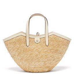 Madeline leather and straw basket bag | Matchesfashion (Global)