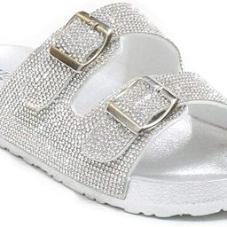 Womens Glitter Double Buckle Adjustable Comfort Slip On Slides SandalsEspen | Amazon (US)
