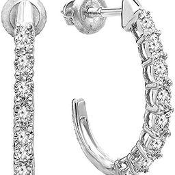 0.15 Carat (ctw) Round White Diamonds Ladies J Shaped Hoop Earrings, Available in 10K/14K/18K Gol...   Amazon (US)
