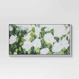 """47"""" x 24"""" Extra Large Floral Greenery Framed Wall Canvas White/Green - Opalhouse™   Target"""