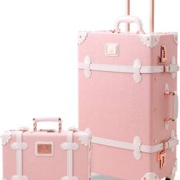 UNIWALKER Vintage Suitcase Set 20 inch Carry on Spinner Luggage with 12 inch Handbag for Women (E... | Amazon (US)