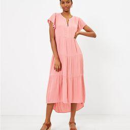 Tiered Flutter Sleeve Midi Dress   LOFT   LOFT