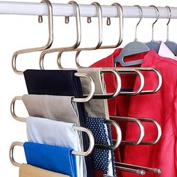 DOIOWN S-Type Stainless Steel Clothes Pants Hangers Closet Storage Organizer for Pants Jeans Scar... | Amazon (US)
