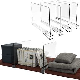 Cq acrylic 4PCS Shelf Dividers for Closets,Clear Acrylic Shelf Divider for Wood Shelves and Cloth... | Amazon (US)