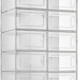 10 Pack Shoe Storage Boxes, Clear Plastic Stackable Shoe Organizer Bins, Drawer Type Front Openin... | Amazon (US)
