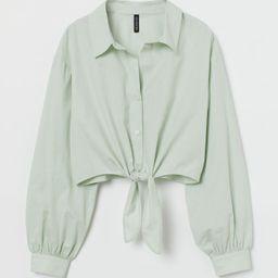 Tie-hem Cotton Shirt   H&M (US)