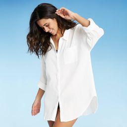 Women's Button-Up Cover Up Shirtdress - Kona Sol White XL | Target