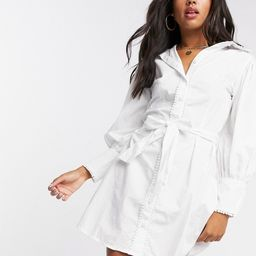 Girl In Mind contrast pearl detail shirt dress with belt in white | ASOS (Global)