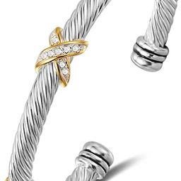 Bracelet Designer Brand Inspired Antique Women Jewelry Cross Cable Wire Bangle Christmas Day Gift... | Amazon (US)