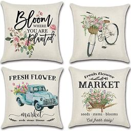 LIYACHAO Spring Decor Fresh Flower Market Bicycle Car Throw Pillow Covers 18x18 Set of 4 Spring T... | Amazon (US)