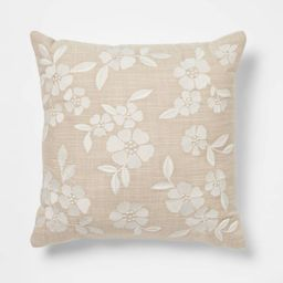 Square Embroidered Decorative Throw Pillow Tan/Cream - Threshold™ | Target