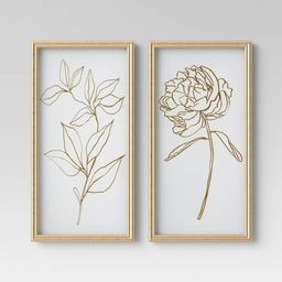 "(Set of 2) 12"" x 24"" Floral Line Drawing Framed Under Glass - Opalhouse™ | Target"