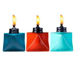 """3pk 4.25"""" Glass Prism Patio Table Torch Blue/Red/Teal - TIKI 
