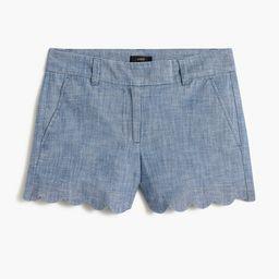 Chambray short with scalloped hem | J.Crew Factory