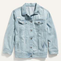 Boyfriend Ripped Light-Wash Plus-Size Jean Jacket | Old Navy (US)