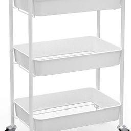 CAXXA 3-Tier Rolling Metal Storage Organizer - Mobile Utility Cart Kitchen Cart with Caster Wheel...   Amazon (US)