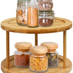 Lazy Susan Turntable Spice Rack - 10 Inch 2-Tier Bamboo Kitchen Countertop Cabinet Rotating Condi...   Amazon (US)