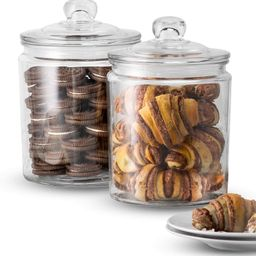 KooK Glass Storage Canister, Clear Jar, With Clear Glass Lid- 1/2 Gallon (Set of 2)   Amazon (US)