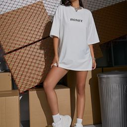Letter Graphic Longline Oversized Tee   SHEIN