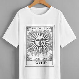 Sun Moon And Slogan Graphic Tee   SHEIN