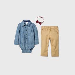 Baby Boys' Chambray 'Little Man' Suspender Top & Bottom Set - Cat & Jack™ Blue | Target