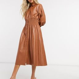ASOS DESIGN leather look midi shirt dress with shirred waist in brown   ASOS (Global)