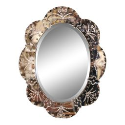 Mid-20th Century Italian Venetian Wall Mirror With Painted Floral Etching | Chairish