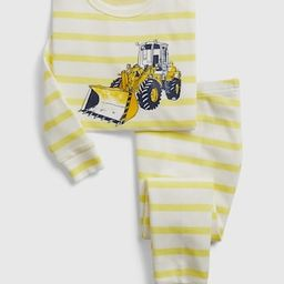 babyGap 100% Organic Cotton Striped Bulldozer Graphic PJ Set | Gap (US)