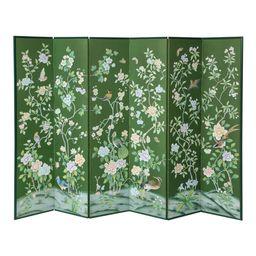 Green Chinoiserie Six-Panel Hand-Decorated Screen | Chairish