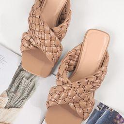 Braided Crisscross Vamp Square Toe Sandals | SHEIN