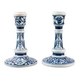 Vintage Dutch Delft Candlesticks - a Pair | Chairish